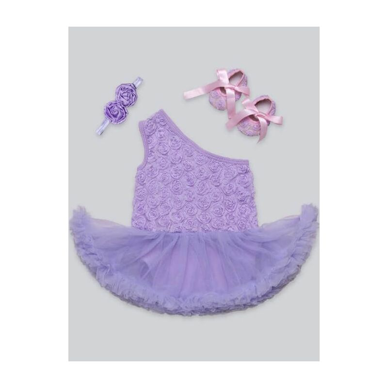 Kiskissing One Shoulder Tutu Romper Princess Dress Hairband Shoes Set for Babies purple the obverse side