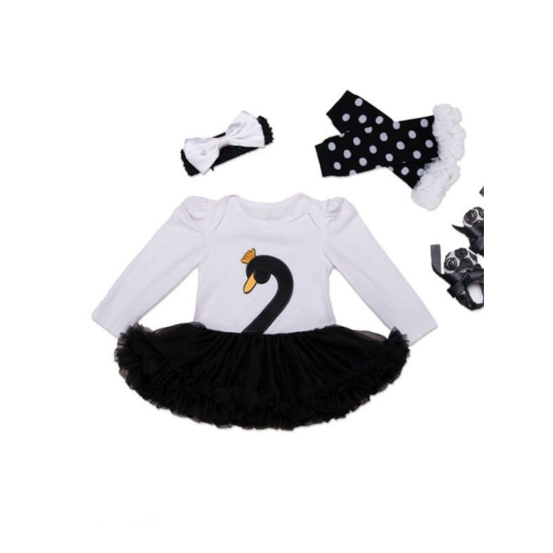 Kiskissing Long Sleeve Tutu Romper Princess Dress Shoes Bow Set for Babies swan the obverse side