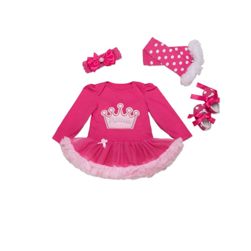 Kiskissing Crown Hairband Shoes Gloves Tutu Princess Dress Set for Babies the obverse side