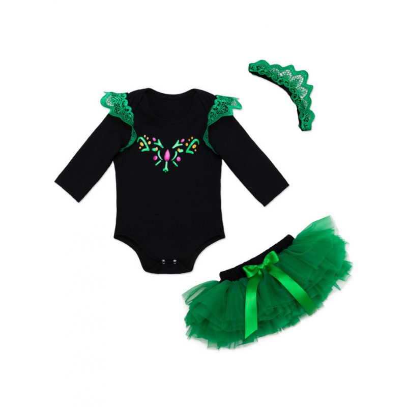 Kiskissing Long Sleeve Black Romper Green Skirt Set for Babies the obverse side