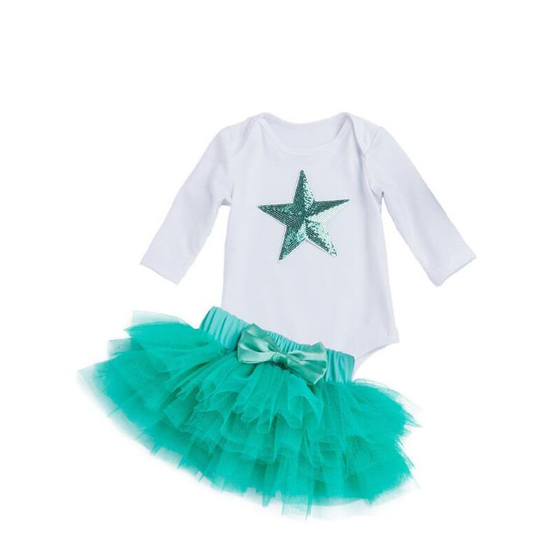 Kiskissing Star Pattern Romper Princess Tutu Skirt Set for Babies blue the obverse side
