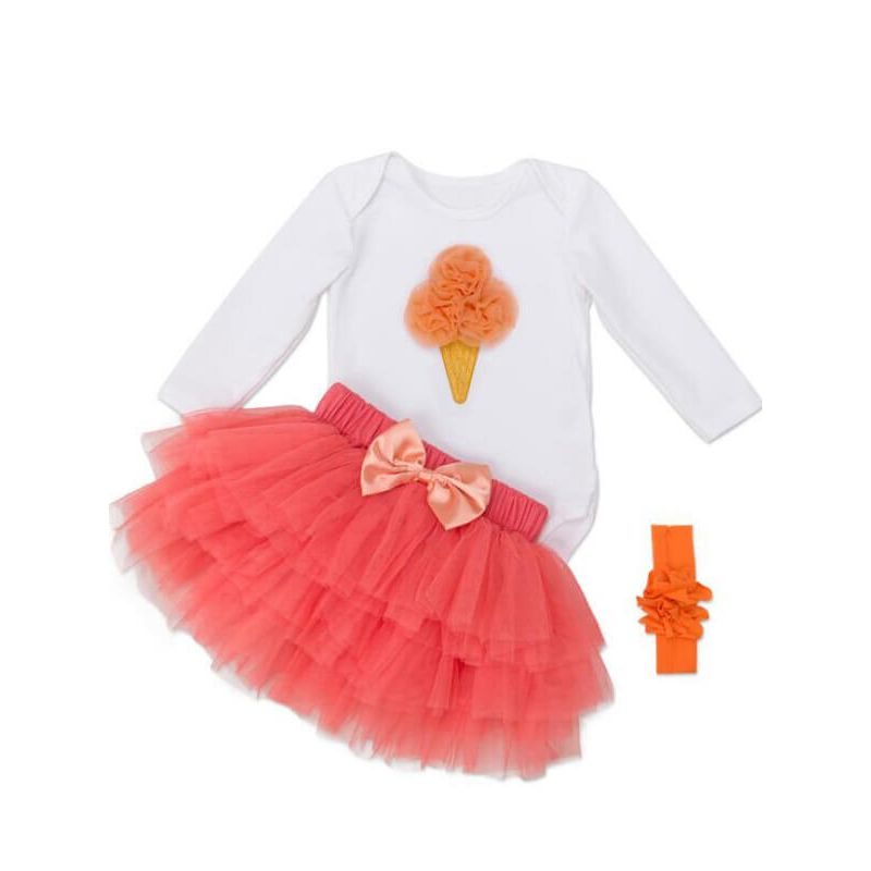 Kiskissing Long Sleeve Ice Cream Pattern Romper Princess Tutu Skirt Set for Babies the obverse side