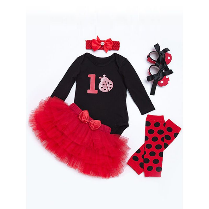 Kiskissing 4-piece Long Sleeve Romper Princess Tutu Skirt Headband Shoes Set for Babies