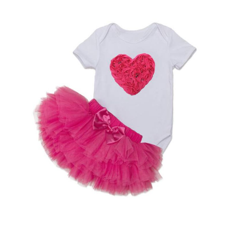 Kiskissing Heart Pattern white Romper Princess Tutu Skirt Headband Shoes Set for Babies the obverse side wholesale kids clothing set