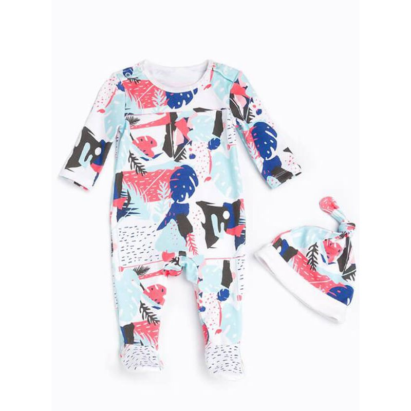 Kiskissing Cotton Printed Long Sleeve Romper Jumpsuit for Babies multicolors  the obverse side kids wholesale clothing