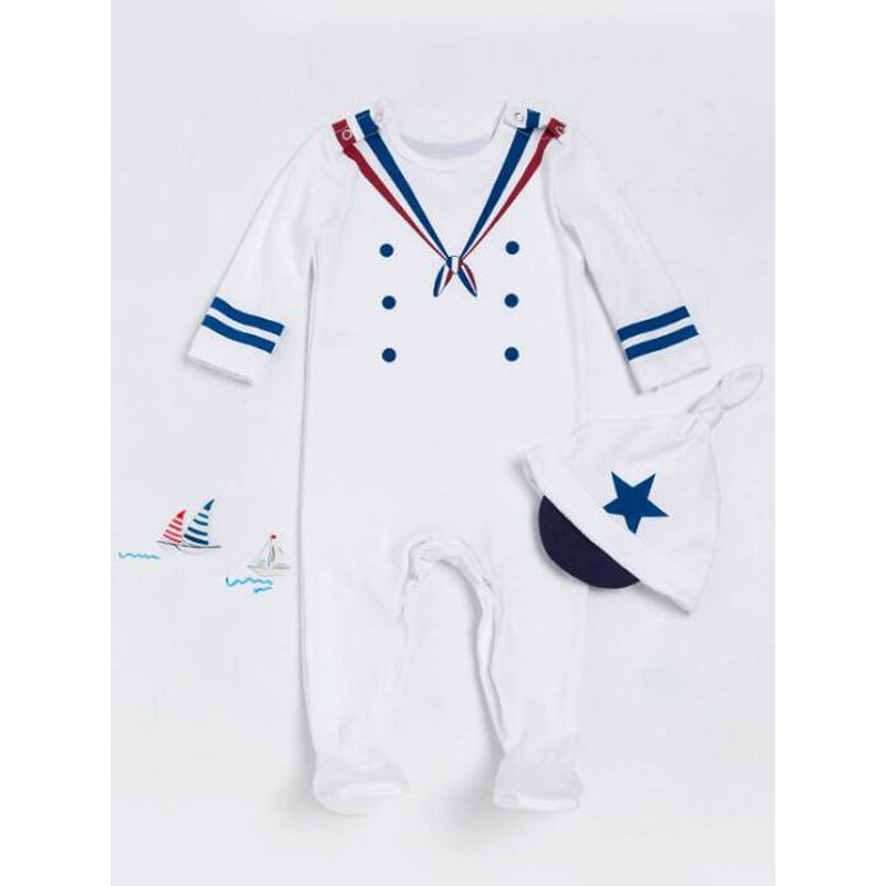 Kiskissing Navy Sailors Style Long Sleeve Romper Jumpsuit for Babies the obverse side wholesale baby clothes