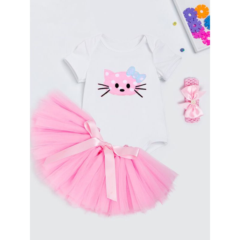 Kiskissing 3-piece cute cat Short Sleeve Romper Princess Tutu Skirt Headband Set for Babies  the obverse side wholesale children's boutique clothing