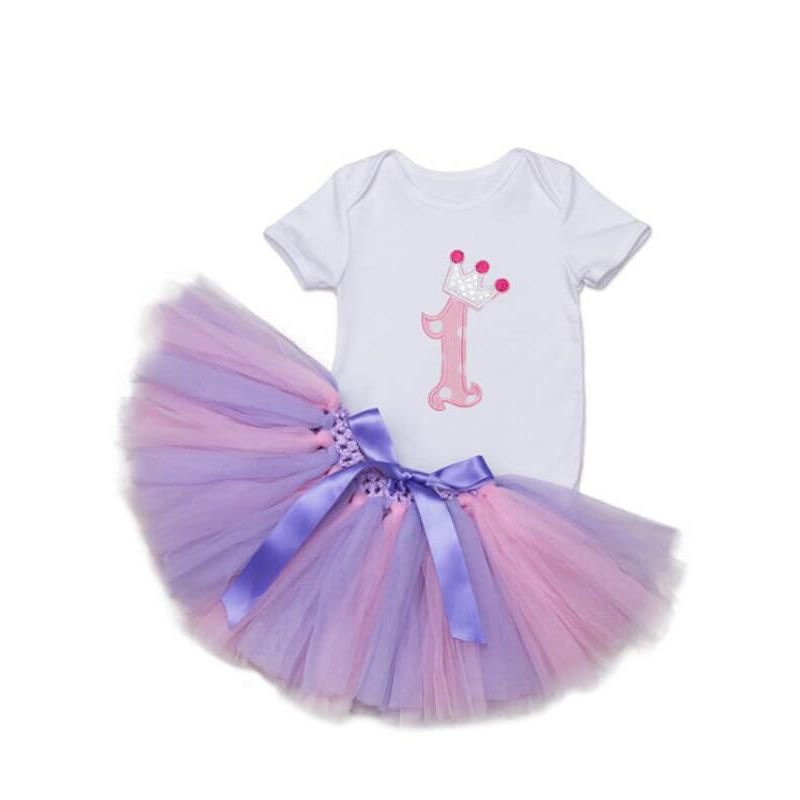 Kiskissing Short Sleeve purple Romper Princess Tutu Mesh Skirt Set for Babies the obverse side wholesale baby clothes