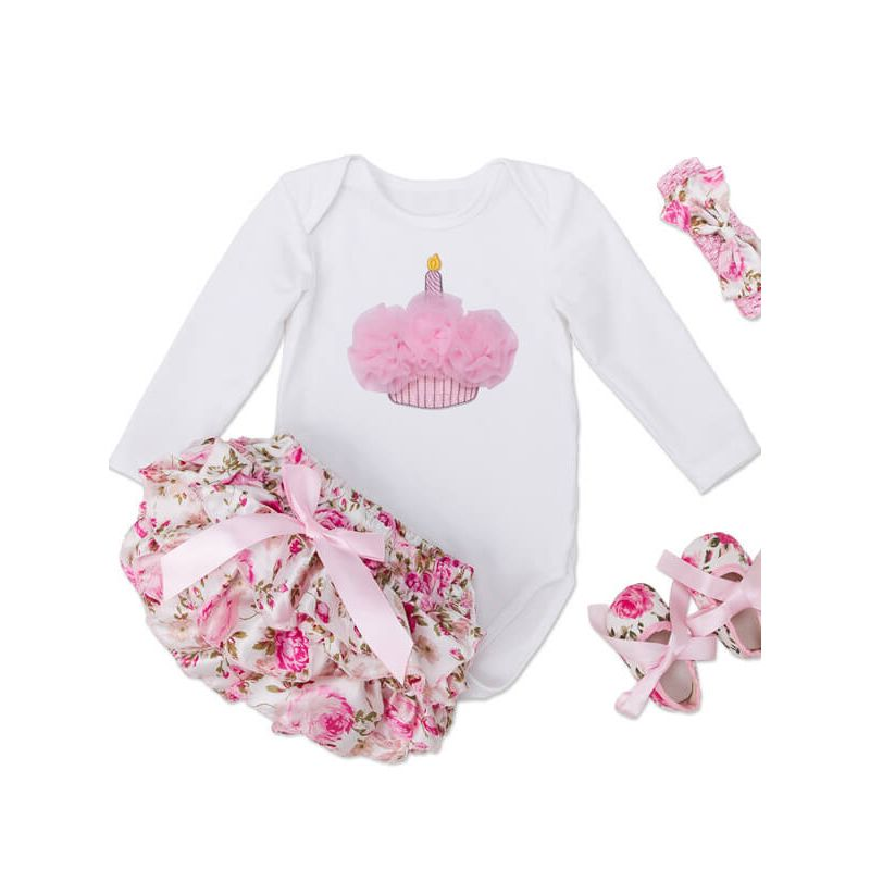 Kiskissing Long Sleeve Romper Roses Pattern Shorts Set for Babies  the obverse side wholesale baby clothes
