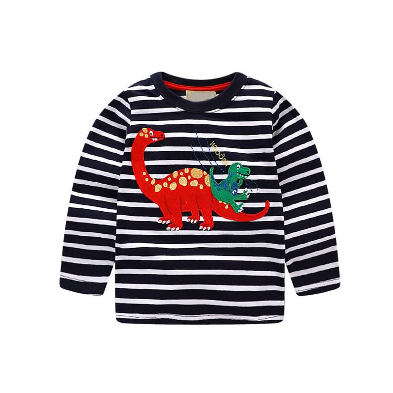 Kiskissing Long Sleeve Dinosaurs Pattern Striped T-shirt Top for Babies Toddlers Boys Girls the obverse side wholesale children's boutique clothing suppliers