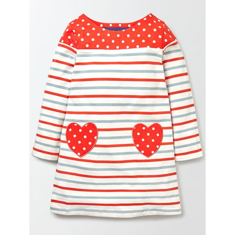 Kiskissing Long Sleeve Hearts Pattern Striped Maxi Dress for Babies Toddlers Girls red the obverse side wholesale toddler clothing