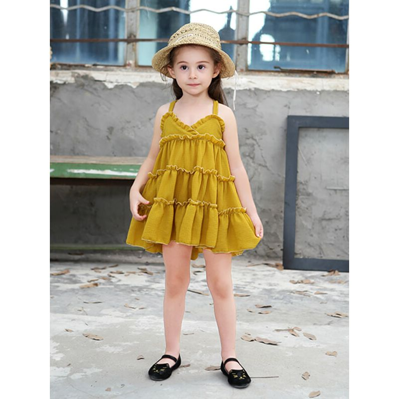 Kiskissing Sleeveless Shirred Princess Party Mini Dress for Toddlers Girls the model show kids wholesale clothing