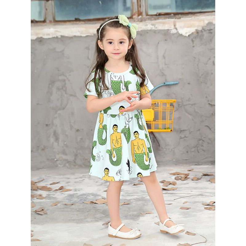 Kiskissing Short Sleeve Mermaid Printed Mini Dress for Toddlers Girls the obverse side model show wholesale girls dresses