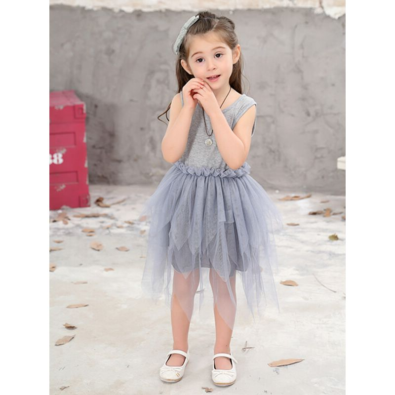 Kiskissing Sleeveless Shirred Mesh Gray Mini Dress for Toddlers Girls the obverse side model show