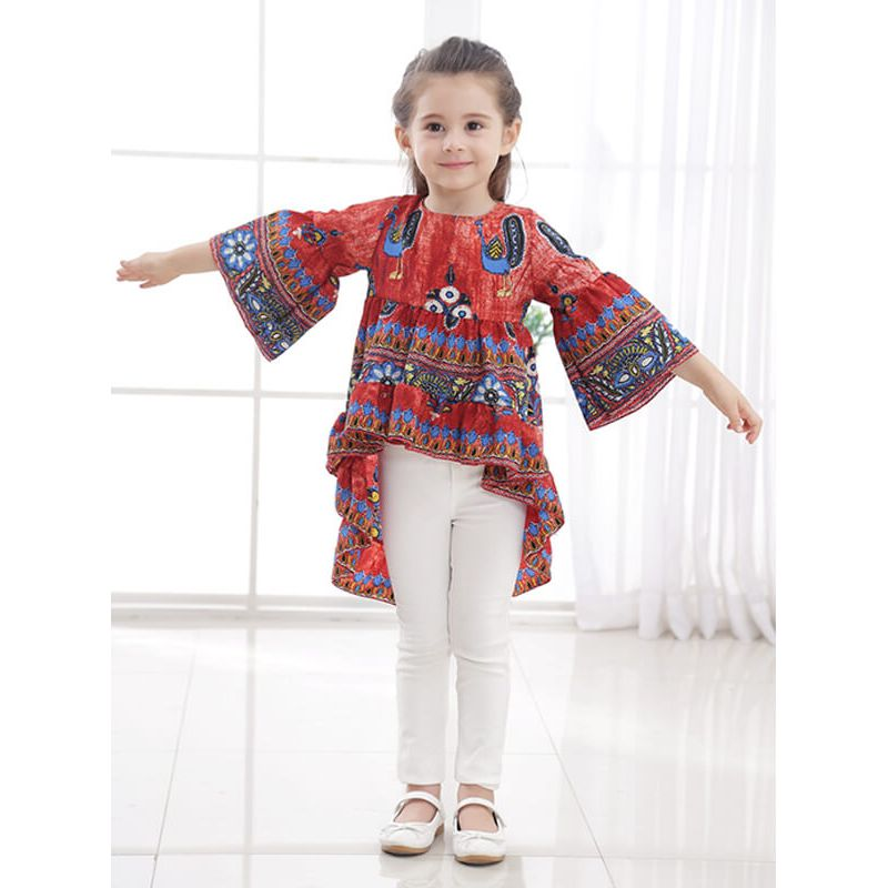 Kiskissing Long Sleeve Ruffle Peacock  Mini Dress for Toddlers Girls the model show wholesale kids clothing