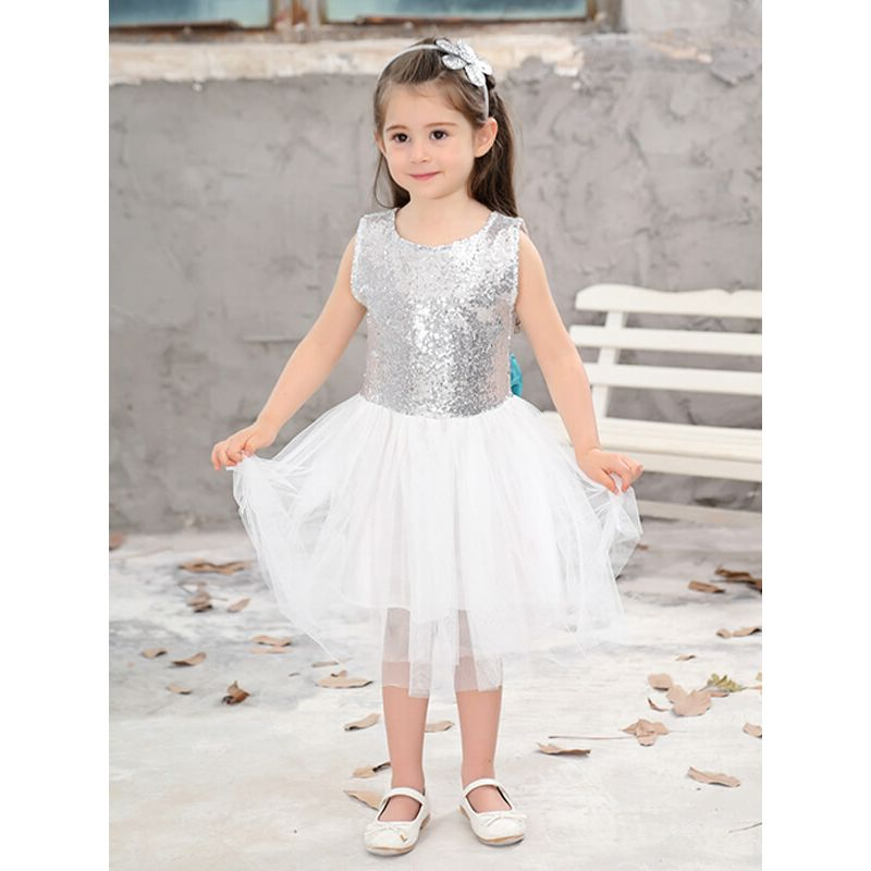 Kiskissing Sleeveless Backless Sequins Princess Tutu Party Mini Dress for Toddlers Girls the obverse side model show wholesale princess dresses