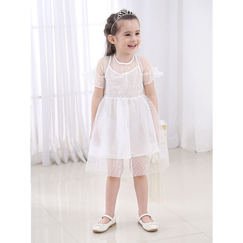 Kiskissing Pierced Mesh Princess Tutu Party Mini Dress for Toddlers Girls the obverse side model show wholesale princess dresses