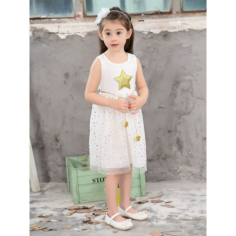 Kiskissing white Sleeveless Stars Pattern Princess Party Midi Dress for Toddlers Girls wholesale kids clothing