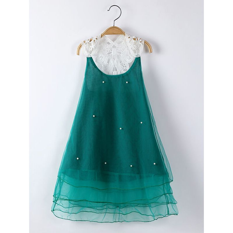 Kiskissing Sleeveless Pierced Beaded Mesh Princess Party Dress for Toddlers Girls green the obverse side wholesale princess dresses