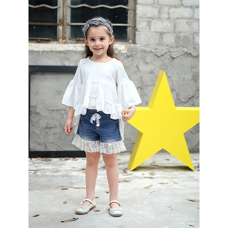 Kiskissing Asymmetry Long Sleeve Shirred Top  Mini Dress for Toddlers Girls white the obverse side wholesale girls dresses