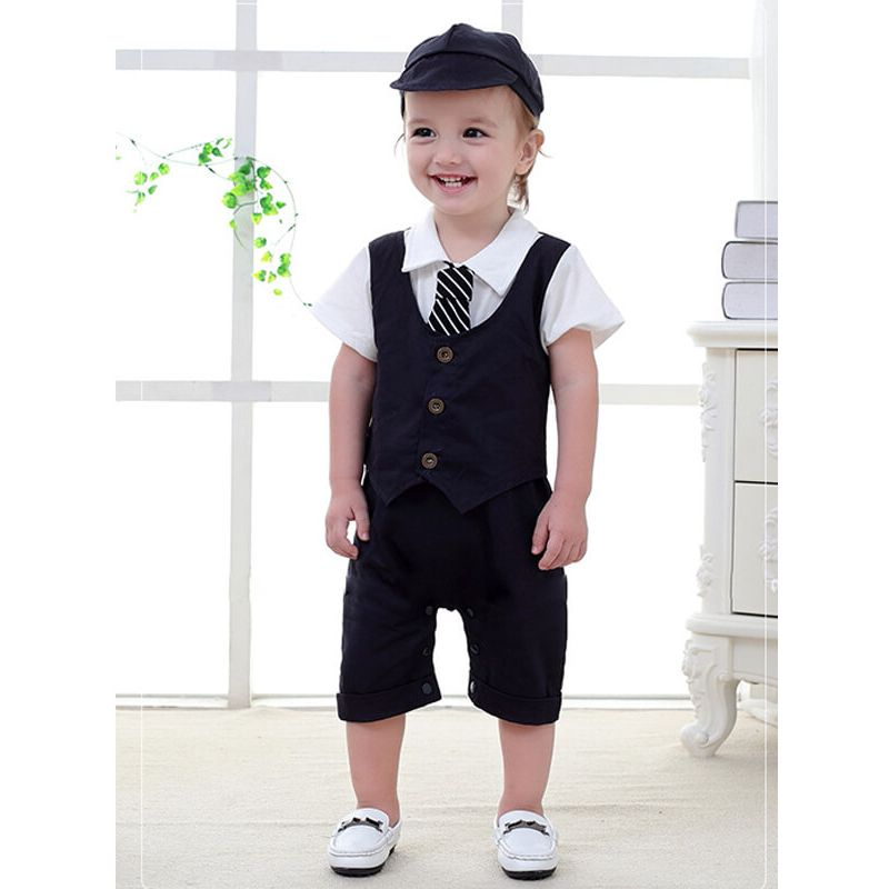 Kiskissing Short Sleeve Romper Hat Party Wear Set for Babies deepblue wholesale boys suit