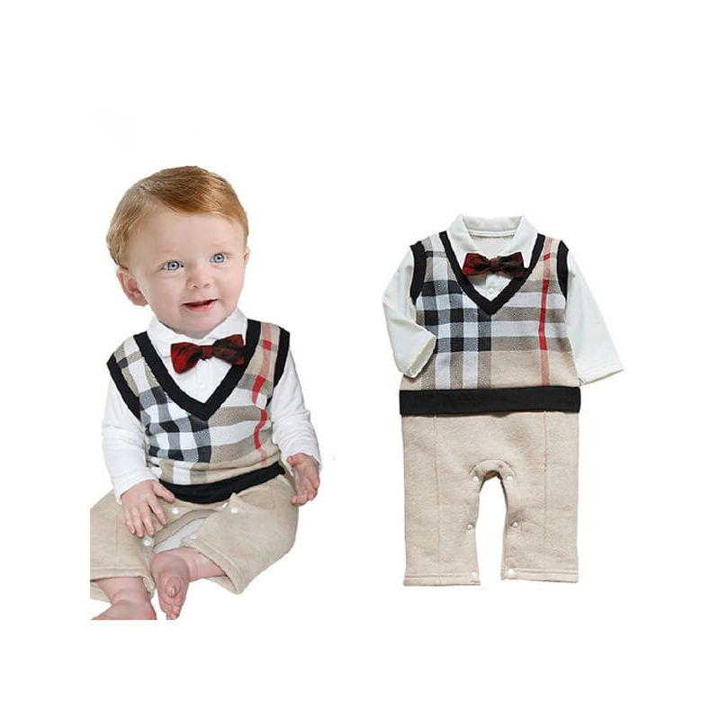 Kiskissing Long Sleeve Checked Pattern Bow Romper Jumpsuit for Babies baby rompers wholesale