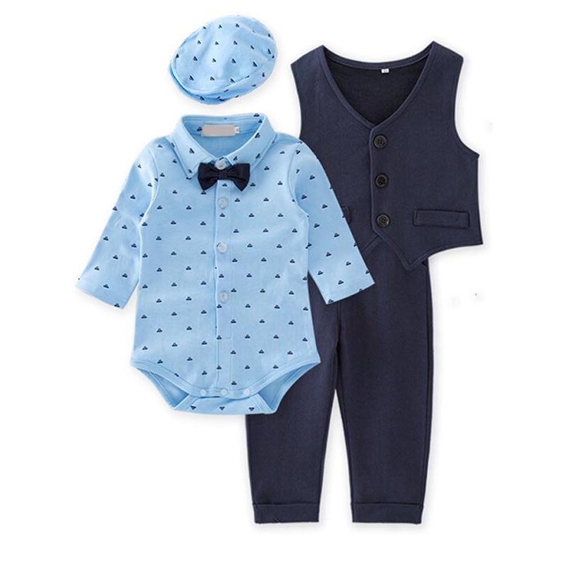 Kiskissing 3-piece Long Sleeve Romper Vest Trousers Hat Party Wear Set for Babies Toddlers wholesale baby clothes