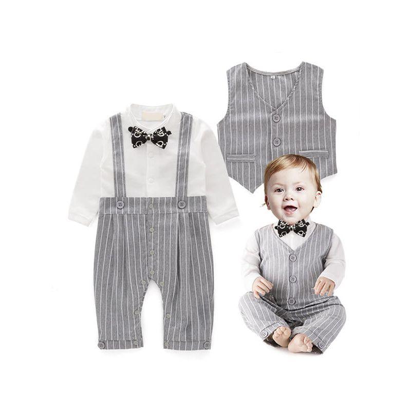 Kiskissing Striped Romper Jumpsuit Vest Bowknot  Party Wear Set for Babies black wholesale boys suit