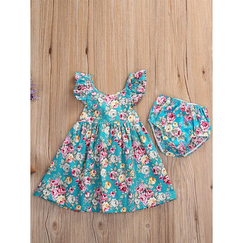 Kiskissing Short Sleeve Flowers Printed Dress for Babies Toddlers the obverse side wholesale baby clothing set