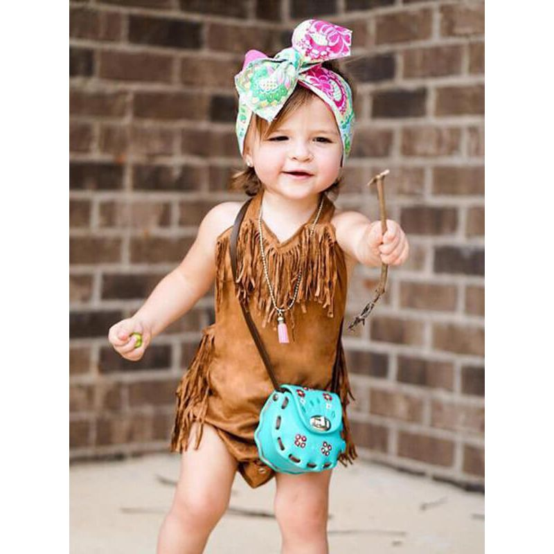Kiskissing Straps Fringed Brown PU Romper for Babies the model show wholesale baby clothes