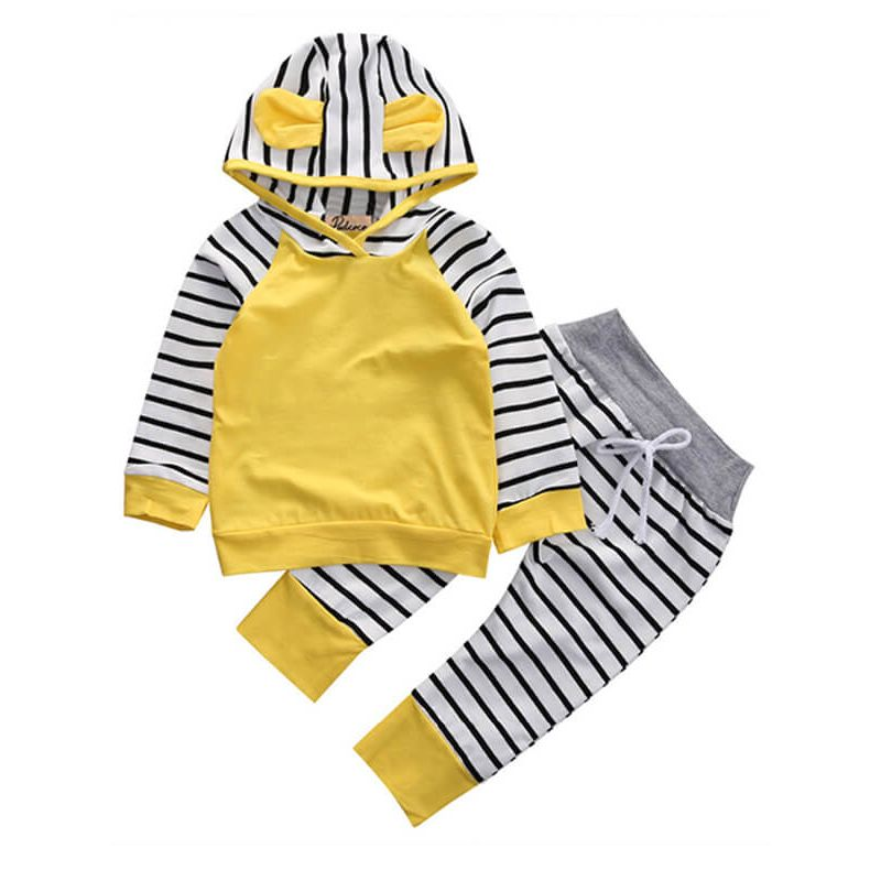 Kiskissing Stripes Printed Top Hoodie Trousers Set Outfits for Babies Toddlers wholesale baby clothes
