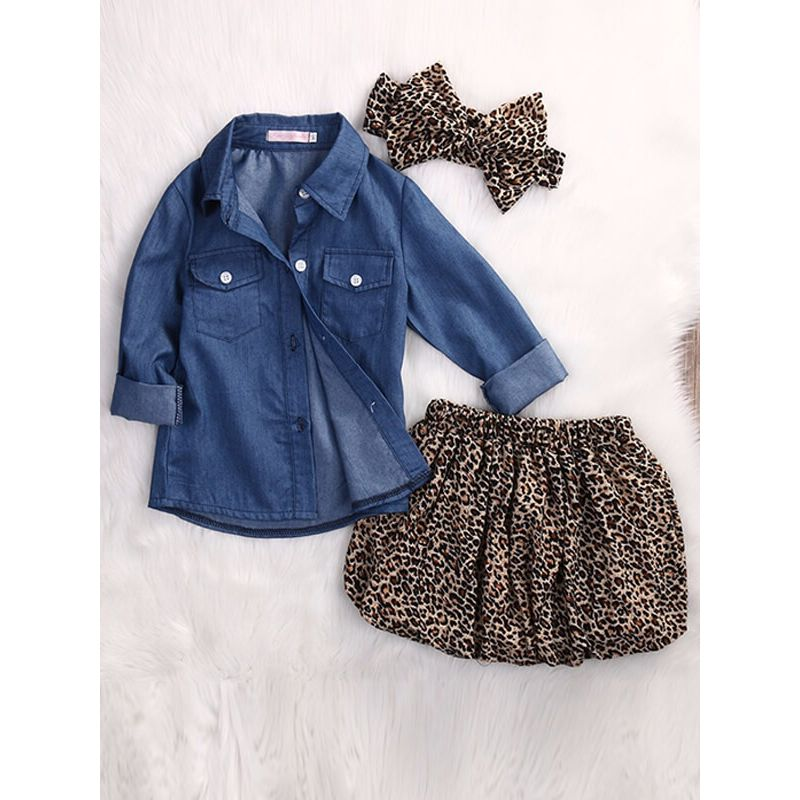 2537f800a8be Kiskissing 3-piece Denim Top Shirt Headband Leopard Print Skirt Set for  Babies Toddlers the
