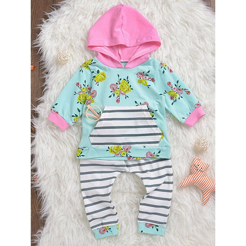 Kiskissing Flowers Printed Top Hoodie Striped Trousers Set for Babies wholesale baby clothes