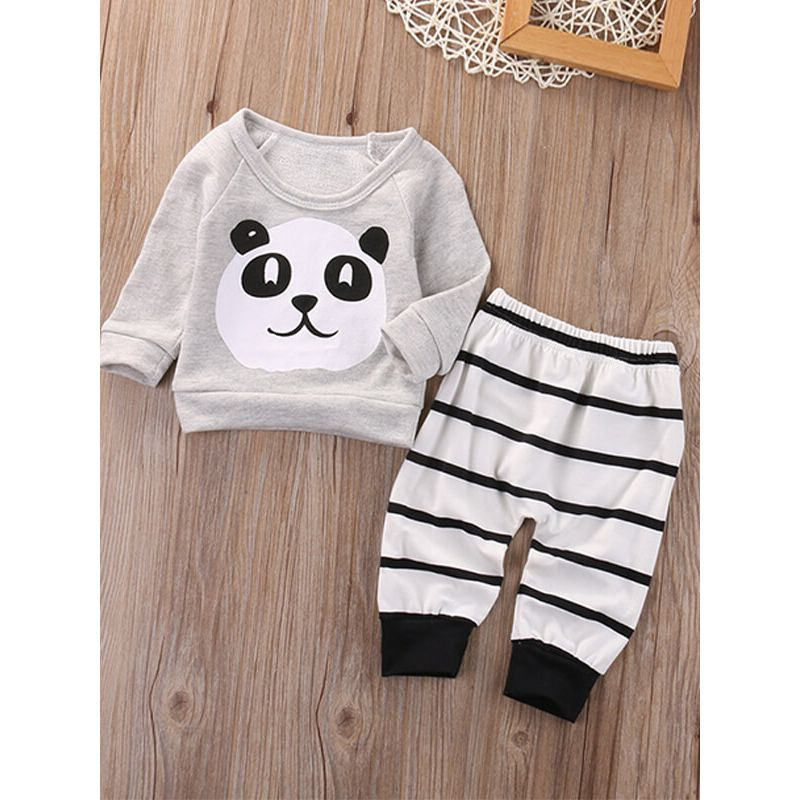 Kiskissing Panda Printed Top Striped Trousers Sleepsuit Set for Babies the obverse side wholesale children's boutique clothing