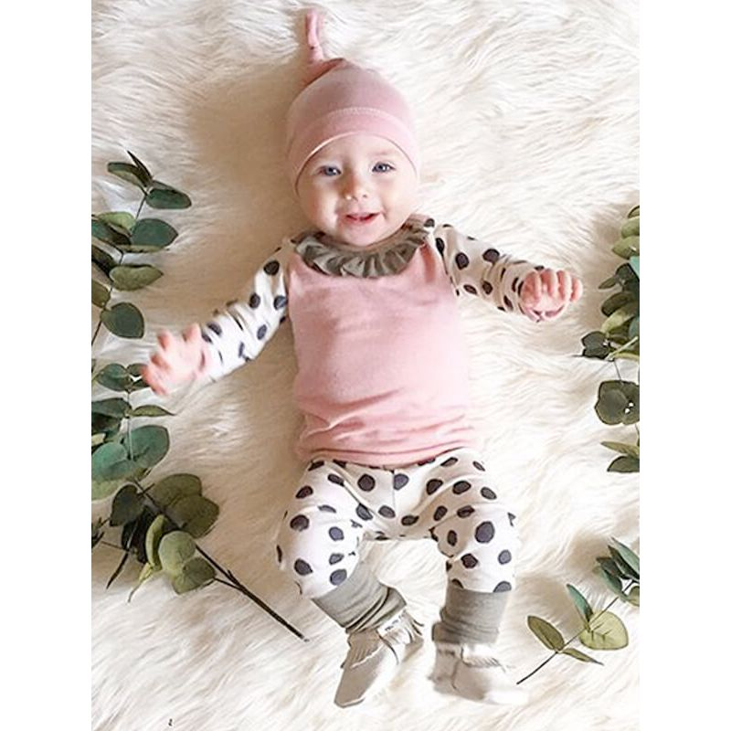 Kiskissing Dots Printed Cute Top Hat Trousers Set for Babies the model show wholesale kids clothing