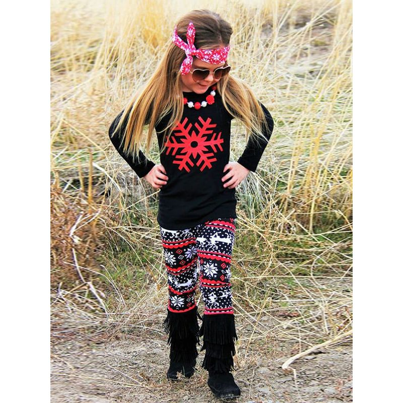 Kiskissing Long Sleeve Printed Top Trousers Set for Toddlers Girls the model show wholesale kids clothing
