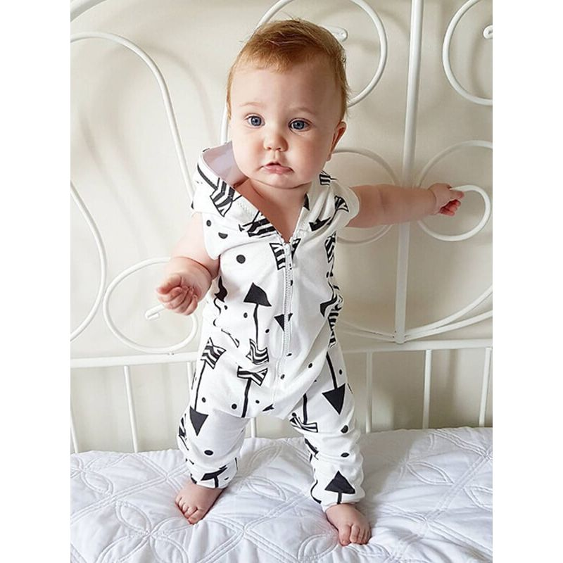 Kiskissing Sleeveless Hooded Zipped Printed Romper for Babies the model show wholesale kids clothing