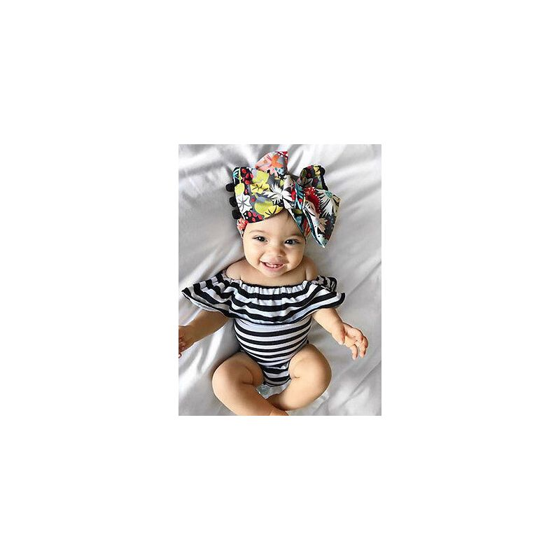 Kiskissing Sleeveless Turn-down Collar Stripes Printed Romper for Babies the model show wholesale baby clothes