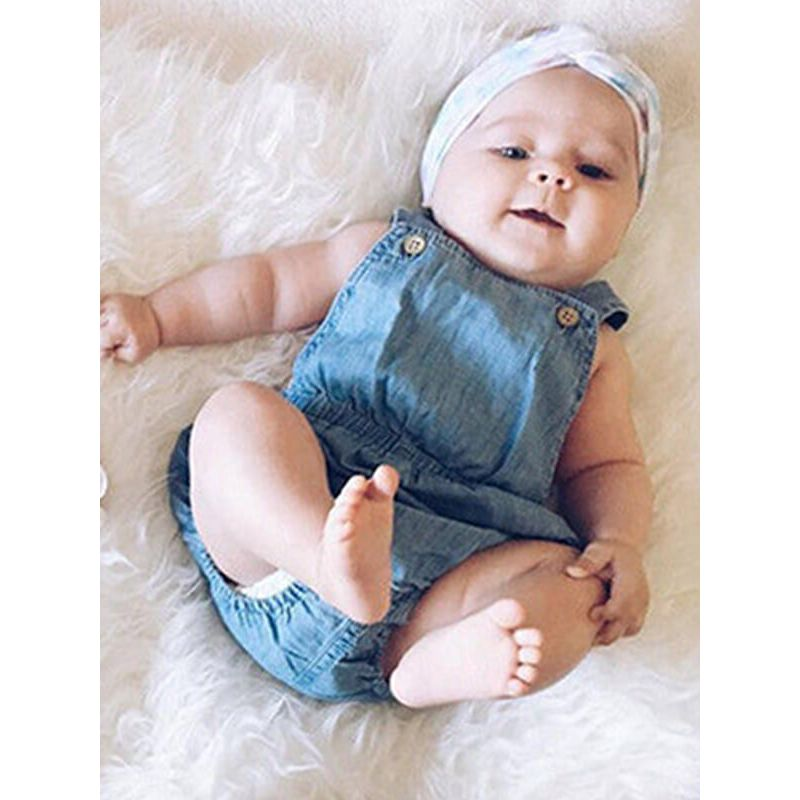 Kiskissing Blue Buttoned Romper Jumpsuit Overalls for Babies the model show wholesale baby onesies