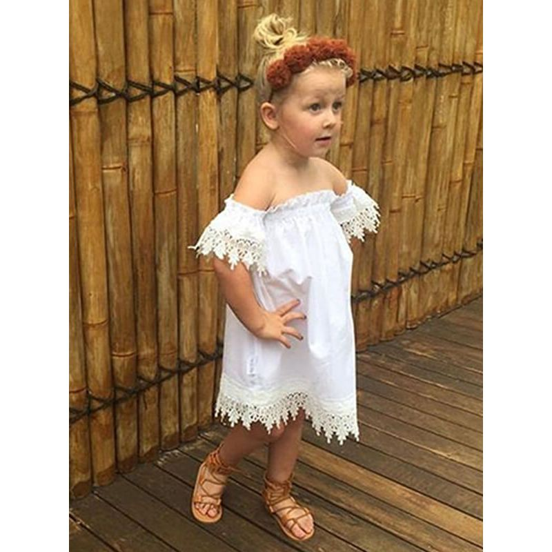Kiskissing White Off-shoulder Midi Dress for Babies Toddlers Girls the model show wholesale kids clothing