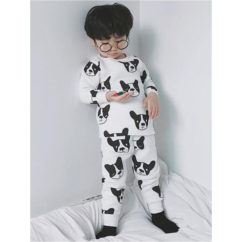 Kiskissing Printed Pullover 2-Piece Pajamas Sleepsuit Sleepwear Set for Toddlers Boys Girls black dog the model show wholesale toddler sleepsuits