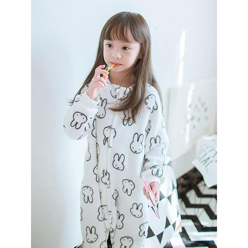 Kiskissing Printed Zip-up Onepiece Flannel Pajamas Sleepsuit Sleepwear for Toddlers Boys Girls the model show