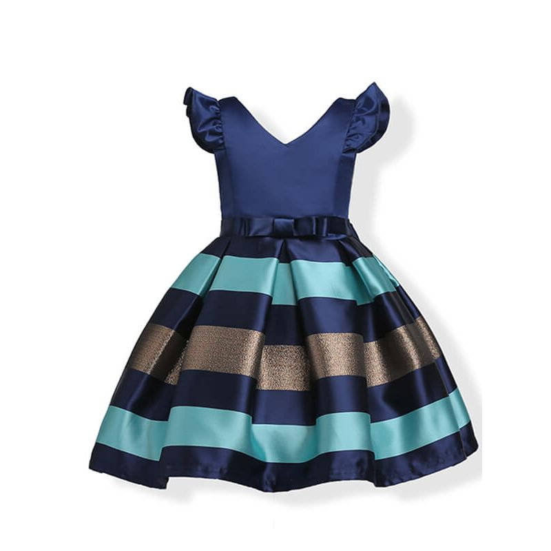 Kiskissing Stripes Printed deepblue Bow Party Tutu Princess Dress for Toddlers Girls the obverse side wholesale girls clothing