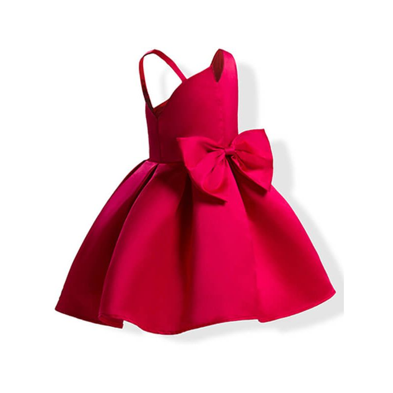 Kiskissing red Asymmetric Sleeveless Bowknot Party Princess Dress for Toddlers Girls trendy kids wholesale clothing