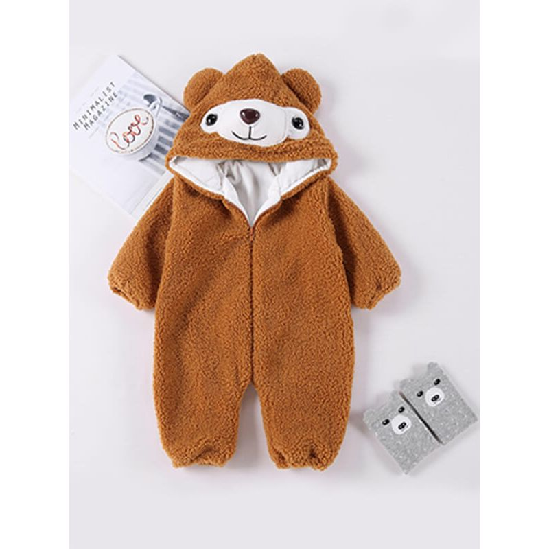 Kiskissing brown Bear Pattern Hood Warm Romper Jumpsuit for Babies the obverse side wholesale kids clothing