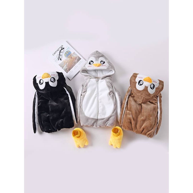 Kiskissing Zipped Hooded Penguin Pattern Vest Waistcoat Top for Toddlers brown/black/grey colors available wholesale childrens clothing