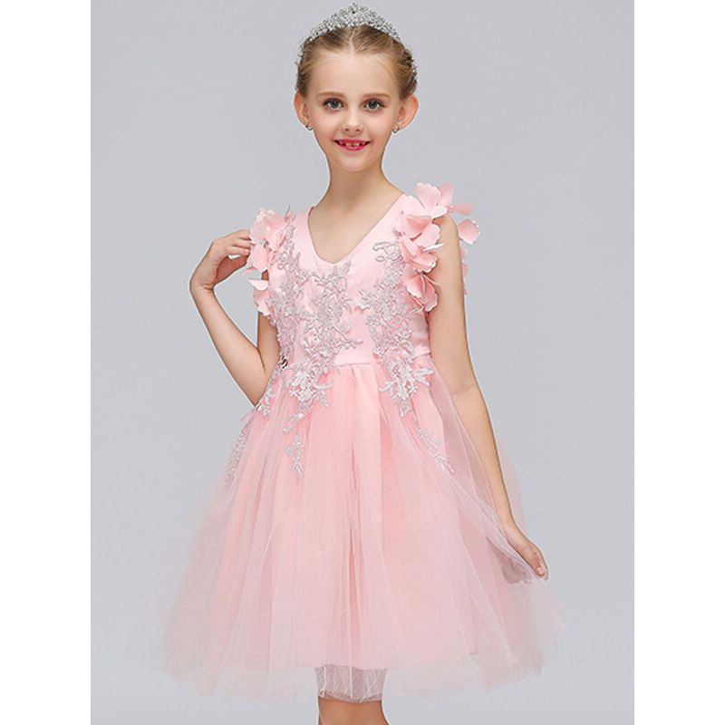 Kiskissing pink Mesh Appliqued Party Princess Tutu Dress for Toddlers  Girls the model show wholesale princess dresses