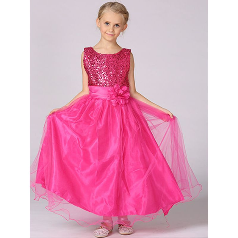 Kiskissing rose Paneled Sequins Mesh Party Maxi Princess Dress for Toddlers Girls the model show wholesale kids clothing