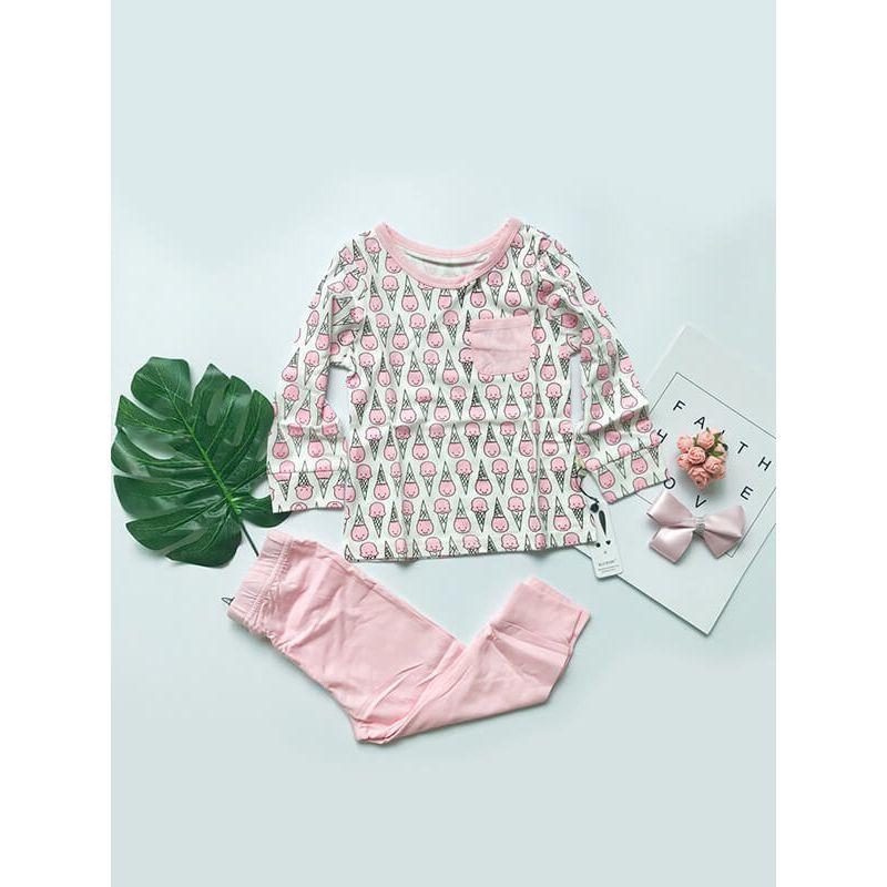 Kiskissing 2-piece Pink Ice Cream Pattern Top Pants Set for Baby Toddler Girls the obverse side kids wholesale clothing set