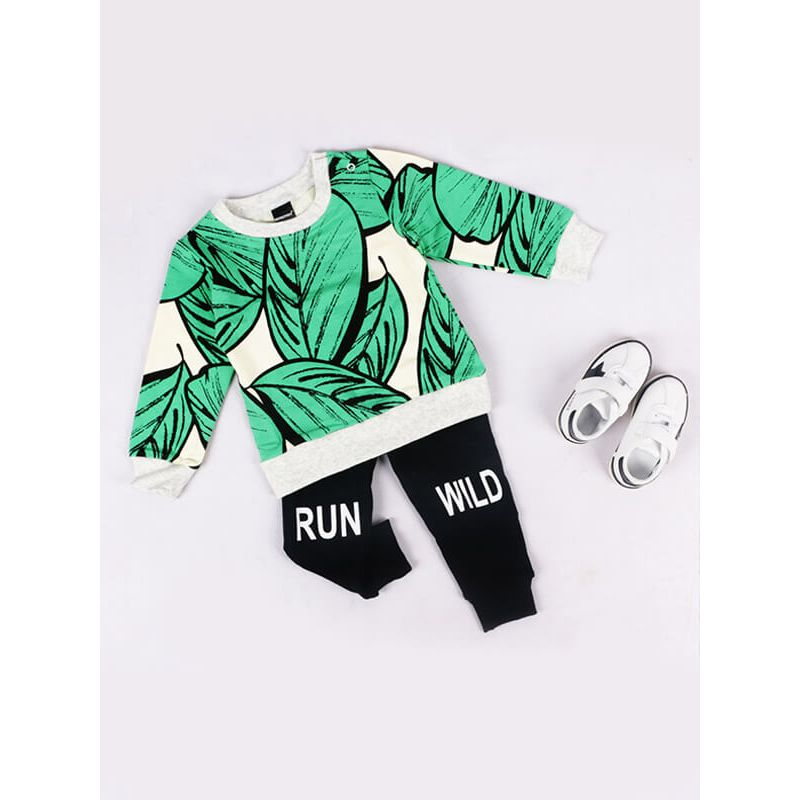 Kiskissing Tree Leaves Printed Long Sleeve Tee Top for Toddlers Boys Girls kids wholesale clothing